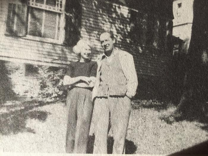 VN and VéN outside 802 East Seneca Street, Ithaca, where they lived from September 1948 until June 1950 and where much of Lolita was written. © The Vladimir Nabokov Literary Foundation.