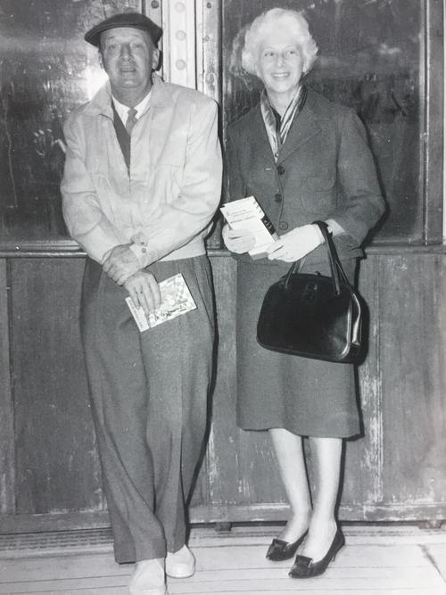 VN and VéN on the liner Queen Elizabeth, November 1960, returning from the USA where he wrote Lolita: A Screenplay, for Stanley Kubrick's movie. In the same month VN began composing Pale Fire. The book VN holds is The Chess Mind. © The Vladimir Nabokov Literary Foundation.