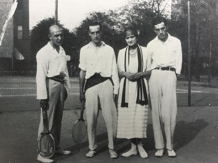 VN, second from left, on a tennis court in Berlin, c. 1922. © The Vladimir Nabokov Literary Foundation.