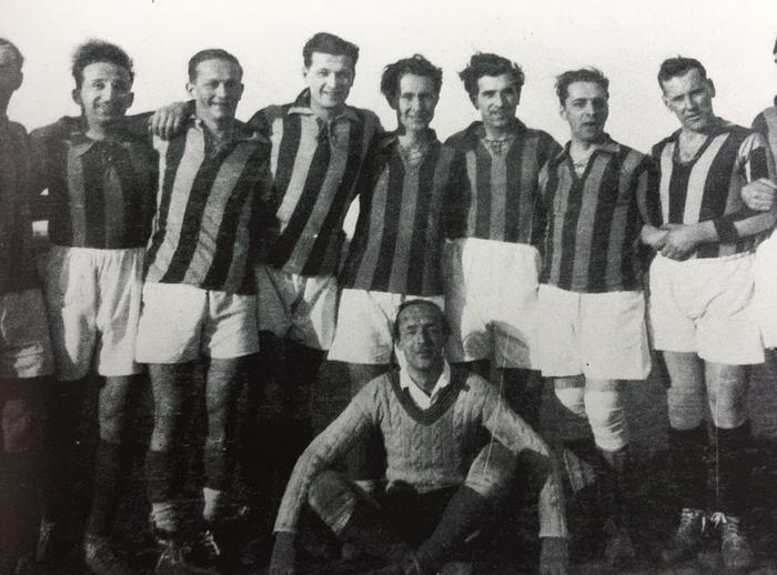"VN in front of his team of the Russian Sports Club in Berlin, 1932. As in Cambridge, he was still ""crazy about goal keeping"" (SM, 267). © The Vladimir Nabokov Literary Foundation."