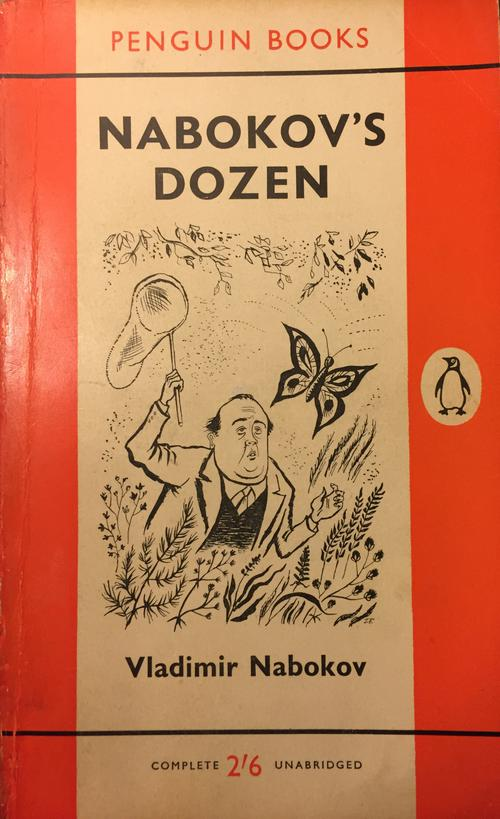 VN. Caricature by J. Faczynski for the cover of the 1960 edition of Nabokov's Dozen by Penguin Books.
