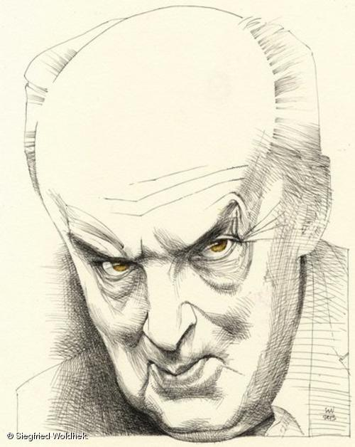 VN by Siegfried Woldhek. Woldhek's caricatures of literary characters often illustrate The New York Review of Books.