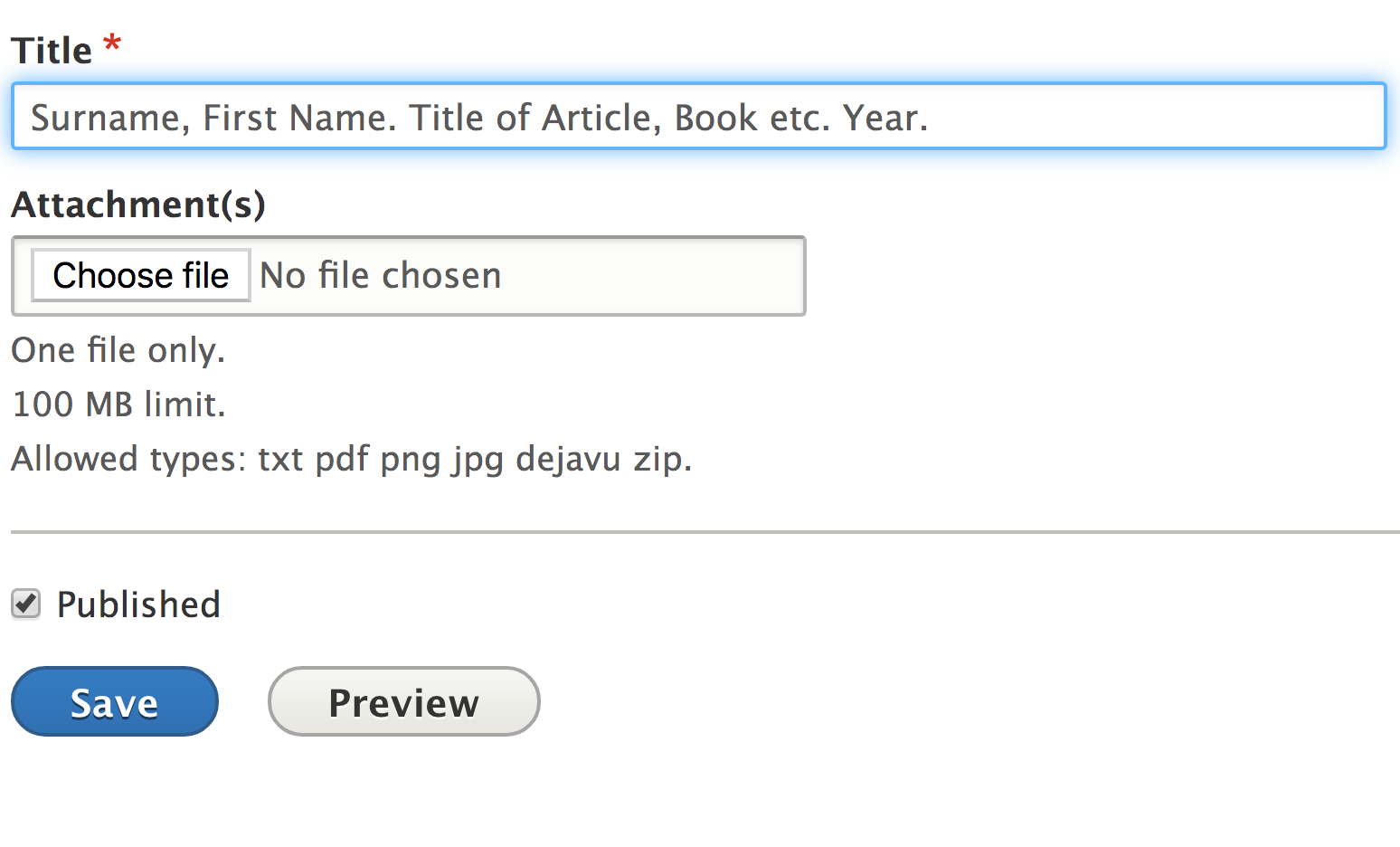 Title field at bottom of Create Bibliography item form